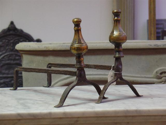 Early 18th century brass andirons