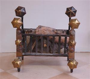 Dutch 17th Century fire grate, brass knobs