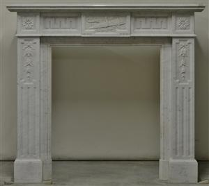 (1565) White Marble Louis XVI Fireplace
