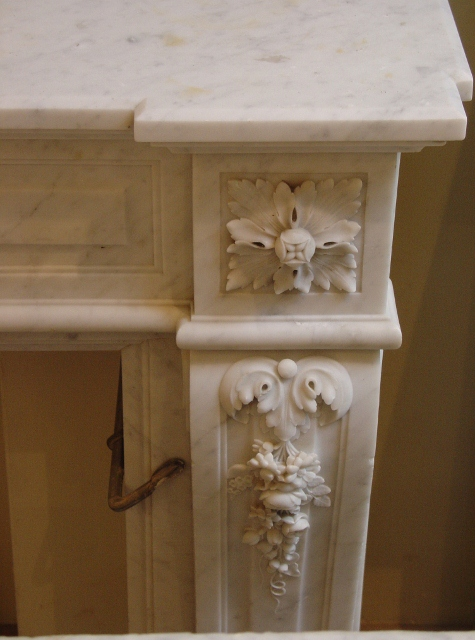 Antique fireplace white marble schermerhorn